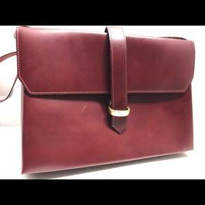 Handbags - VINTAGE Burgundy Envelope Leather Flap Crossbody